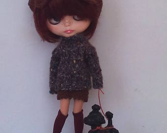 Knitted sweater  and a crochet mini skirt Blythe or Pullip