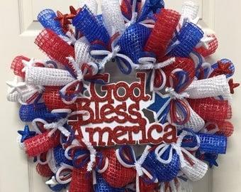 40% OFF CLEARANCE -  RWB Patriotic Wreath - Item 2591