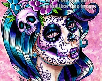 Sugar Skull Girl Signed Art Print - In Between Art Print  - 5x7, 8x10, or 11x14 - Day of the Dead Sugar Skull Girl Tattoo Flash
