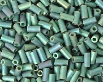 Seed Beads-3mm Bugle-2031 Matte Metallic Sage Green Luster-Miyuki-14 Grams
