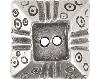 Buttons-20mm Square Pyramid-Casting-Antique Silver-Quantity 1