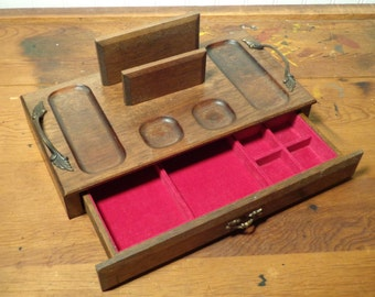 Vintage Men's Wood Dresser Valet  -  Wood Jewelry Box with Drawer  -  16-888