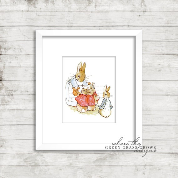 Beatrix Potter Peter Rabbit 8x10 Print, Nursery Art Girl, Nursery Art Boy, Wall Art, Peter Rabbit Nursery, Beatrix Potter, Nursery Wall Art