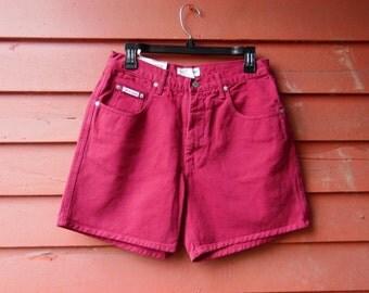 80s Deadstock Deep Rose Magenta Fuchsia Guess Denim Jeans Hippie Boho Spring Summer Shorts 30