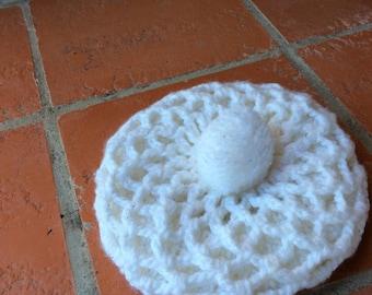 Vintage white Hat tam beret pompom