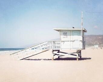 Malibu Beach, Coastal Wall Art, Large Photography, Beach Art, Los Angeles, California, Beach Wall Art, Lifeguard Tower, Wall Art