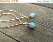 Gold Opal Earrings Minimalist Earrings Unique Dungle Earrings Blue Opal White/Pink Opal October Birthstone Gift For Her Christmas Gifts Opal