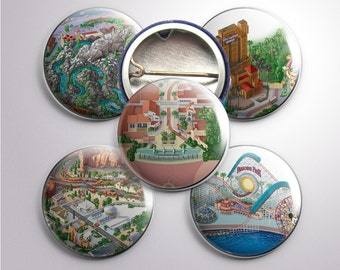 California Adventure Map Buttons, 1""