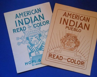 American Indian Read and Color, Hopi and Zuni, Pueblo, Vintage Coloring Book
