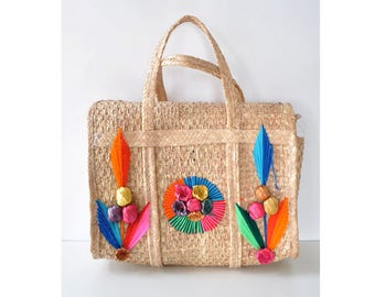 Straw Market Bag • 80s Purse • Summer Straw Bag • Large Handbag • 80s Purse • Mexican Purse • Straw Purse • Colorful Purse | B775