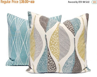 15% Off Sale Decorative Pillow Covers - Sofa Pillow Covers - Throw Pillow Covers - Leaf and Diamonds - Ivory Background - Aqua Pillows - Pai