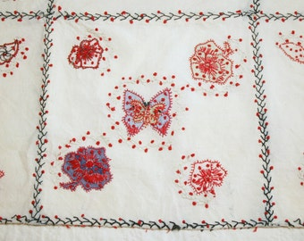 Antique Embroidered Coverlet Piece with Beautiful and Very Unusual French Knot Embroidery and Applique - 36 by 19 Inches