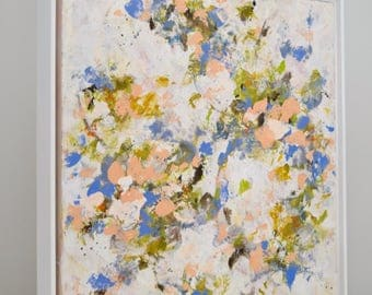 Abstract Flower Painting Garden Painting Cream Blue Coral peach April Sings 16x16 Framed