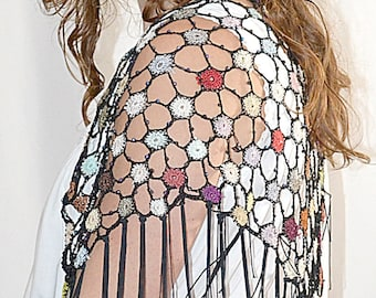 """Vintage Multi Colored and Black Beaded Crocheted """"Stained Glass"""" Shawl With Long Fringe"""