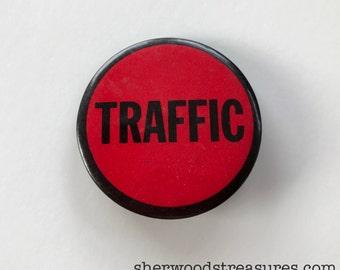 """Antique TRAFFIC Patrol Safety Pinback  Button Pin Original  2 1/4"""""""