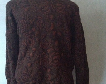 SALE Vintage 80s Floral Mens I Magnin Sweater Made in Italy