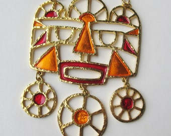 Vintage 60s Vendome Gold Stained Glass Mask Face Runway Statement Piece Pendant Necklace