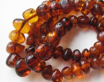 Vintage Baltic Amber Polished Nugget Graduated Bead Necklace 17.5g