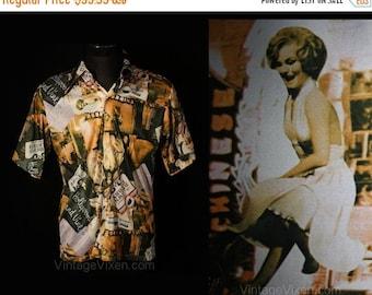 Men's Large 70s Shirt - Disco Era Hollywood & Vine 1970s Novelty Print Mens Top - Movie Stars - Carmen Miranda - Chest 44 - 34921-1