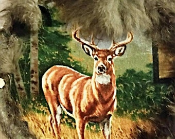 Deer Mandela Buck w/Rabbit Fur and Brown Leather Trim Wall Hanging Brown Feathers