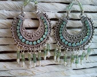 Boho tribal opal green earrings with pearls