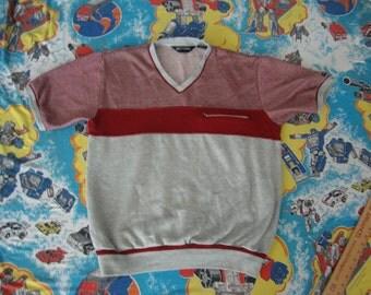 Vintage 80's Pierre Cardin V Neck t sweatshirt material punk rock Shirt Men's Size XL