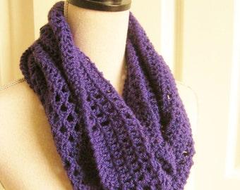 Purple Circle Scarf-Lacy Crochet Scarf-Crocheted Scarf-Crochet Scarf-Purple Cowl-Purple Infinity Scarf-Crochet Lacy Scarf-Lightweight Scarf