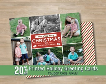 Classic Red Collage Photo Christmas Card, Multiple Photo Holiday Greeting Card, Family Photo Collage, Vintage Retro Style, Printed, Digital