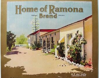 1900 Home of Ramona Camulos Ventura County CA Original Citrus Crate Label 100 years plus