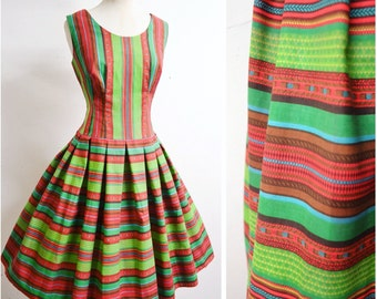 1950s Green & red stripe drop waist day dress / 50s Mexican style stripy full skirt pleated sundress - S