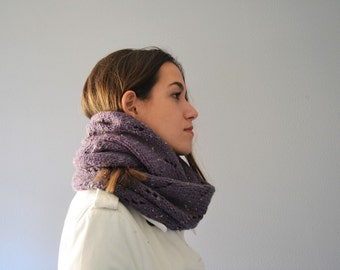 Infinity Knit Scarf Purple Fall Ring Long Scarf Knit Accessories