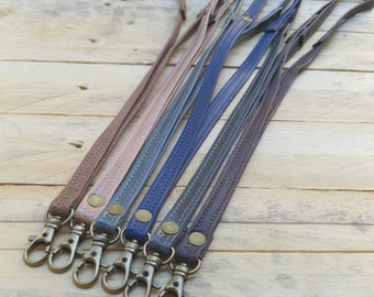 Leather lanyard, leather lanyard, key strap, Leather neck strap, ID holder badge, men gift, women gift, holiday gifts