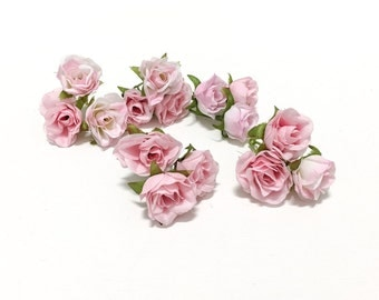SELLING OUT - 15 Tiny Pastel Pink Artificial Miniature Sweetheart Roses - Artificial Flower, Silk Flowers, Hair Accessories, Flower Crown