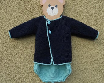 Romper and jacket/cardigan set for a baby boy age approx 3-6 months, chest 18-20 in.  Hand knittedin aqua/navy blue, French style outfit.