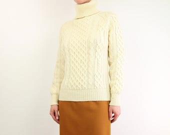 VINTAGE Fisherman Knit Sweater Turtleneck Wool Aran Cable Knit