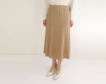 VINTAGE Knit Skirt 1970s Aline Pleat Toffee