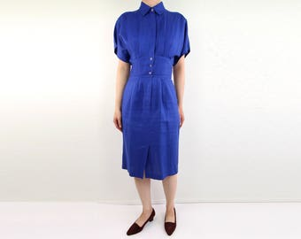 VINTAGE Blue Linen Dress 1980s Nordstroms