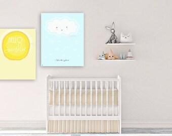 Kids Room, Baby room decor, sunshine, nursery decor,  Nursery wall art, Children Art print, Play room, set of 2 prints, modern nursery print