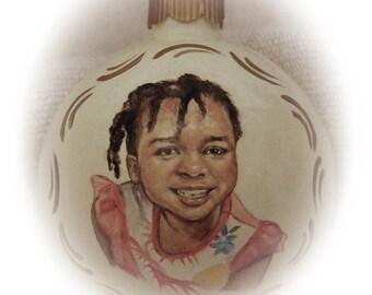 Custom portrait painting christmas ornament,  realistic Children portraits on 4 inch glass ornaments - hand painted Christmas ornaments