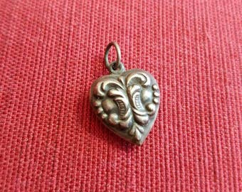 Vintage Antique Sterling Silver Puffed Heart Pendant Charm