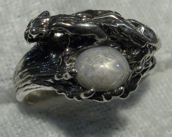 Star Sapphire Cougar Ring, Natural Silver-Gray, Hand Crafted Recycled Sterling Silver Mountain Lion, panther, puma, tiger, big cat ring band