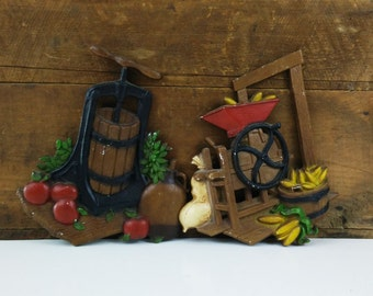 Vintage die cast metal Apple Press & Corn Mill Homco wall hangings