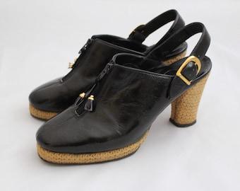 Vintage 1970s Platform Mules / Black 1970s Shoes / Vintage Mules / Size 5 Mules / Size 5 1/2 Mules / Platform Mules / Vintage Shoes Size 5
