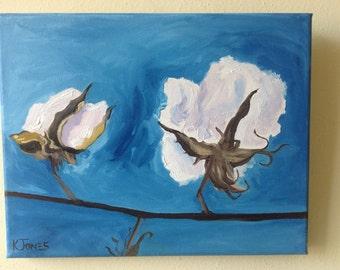 SUMMER SALE | Cotton Bolls Blue | Botanical Cotton Farm Painting South southern Louisiana Mississippi billowy fluffy bolls | small canvas