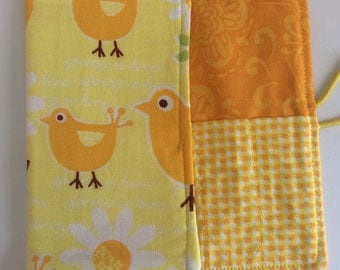 Easter gift, Yellow Chicks and Daisy, Crayon Roll, crayon holder, party gift