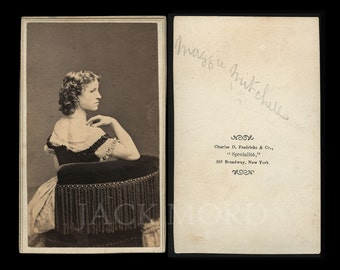 1860s CDV Photo Actress Maggie Mitchell ~ John Wilkes Booth Int ~ Rare Pose