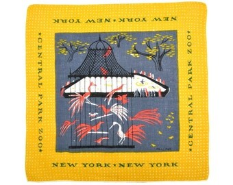 TAMMIS KEEFE New York New York  Handkerchief Signed Central Park Zoo Linen Peacocks Coral Gold Grey Pagoda Signed Excellent Condition