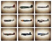 VETERANS DAY SALE Vintage Wwii Airplanes Setof 9 Photo Prints, Airplane Wall decor, Boys Room Decor, Airplane Wall Art