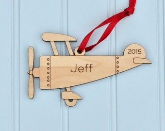 Airplane Ornament 2016 Wooden Baby's First Christmas Personalized Kids