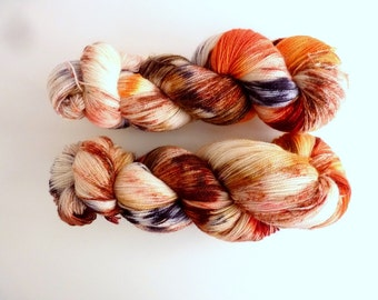 "Lace BFL yarn hand dyed  - Superwash Bluefaced Leicester wool, Tea Time base - Colourway ""Little Fox"""